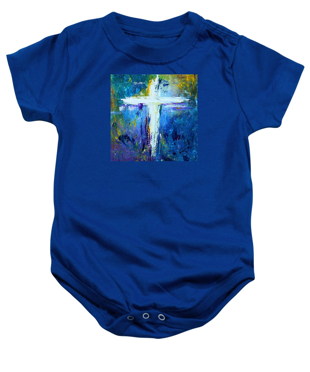 Christian Baby Onesie featuring the painting Cross - Painting #4 by Kume Bryant