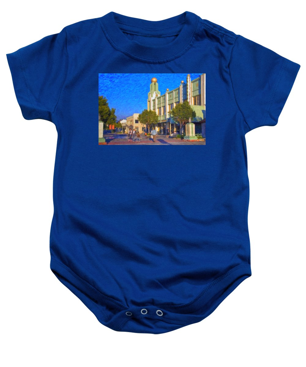 Culver City Plaza Theaters Los Angeles California Baby Onesie featuring the photograph Culver City Plaza Theaters  by David Zanzinger