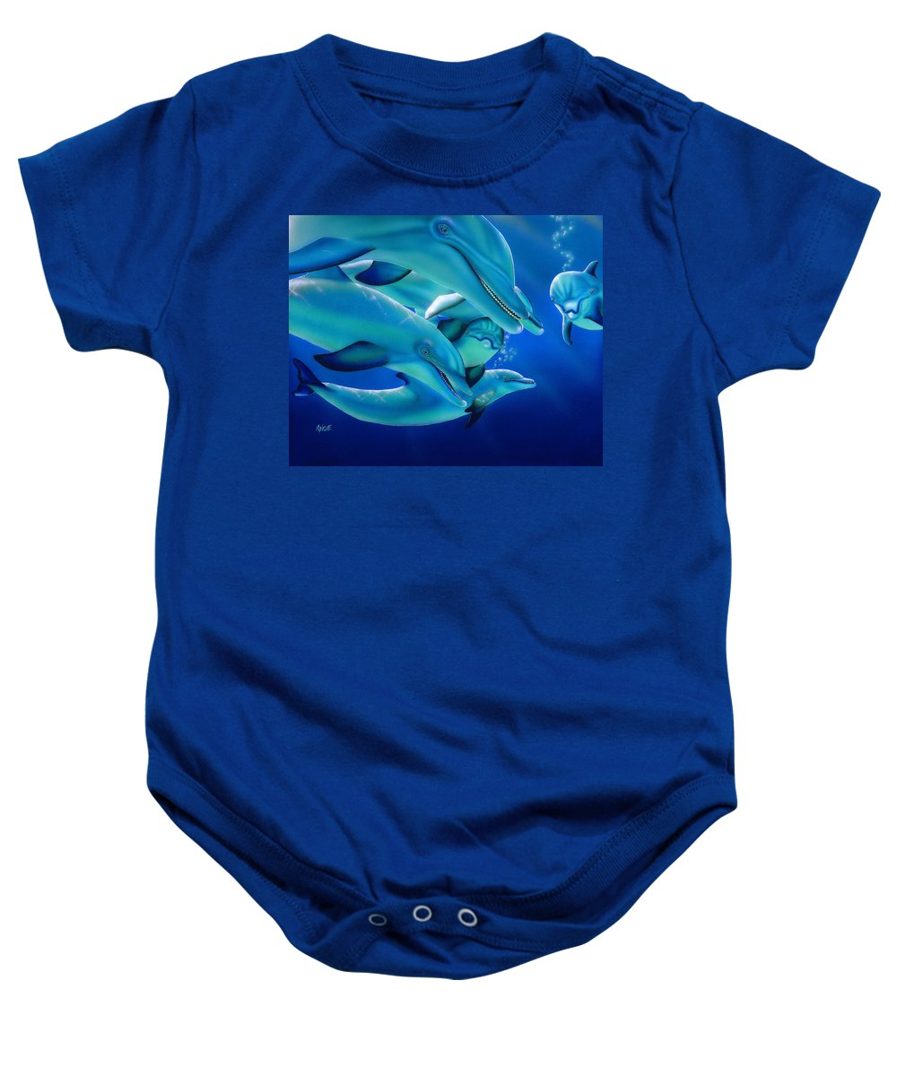 Dolphins Baby Onesie featuring the painting Curiosity by Angie Hamlin