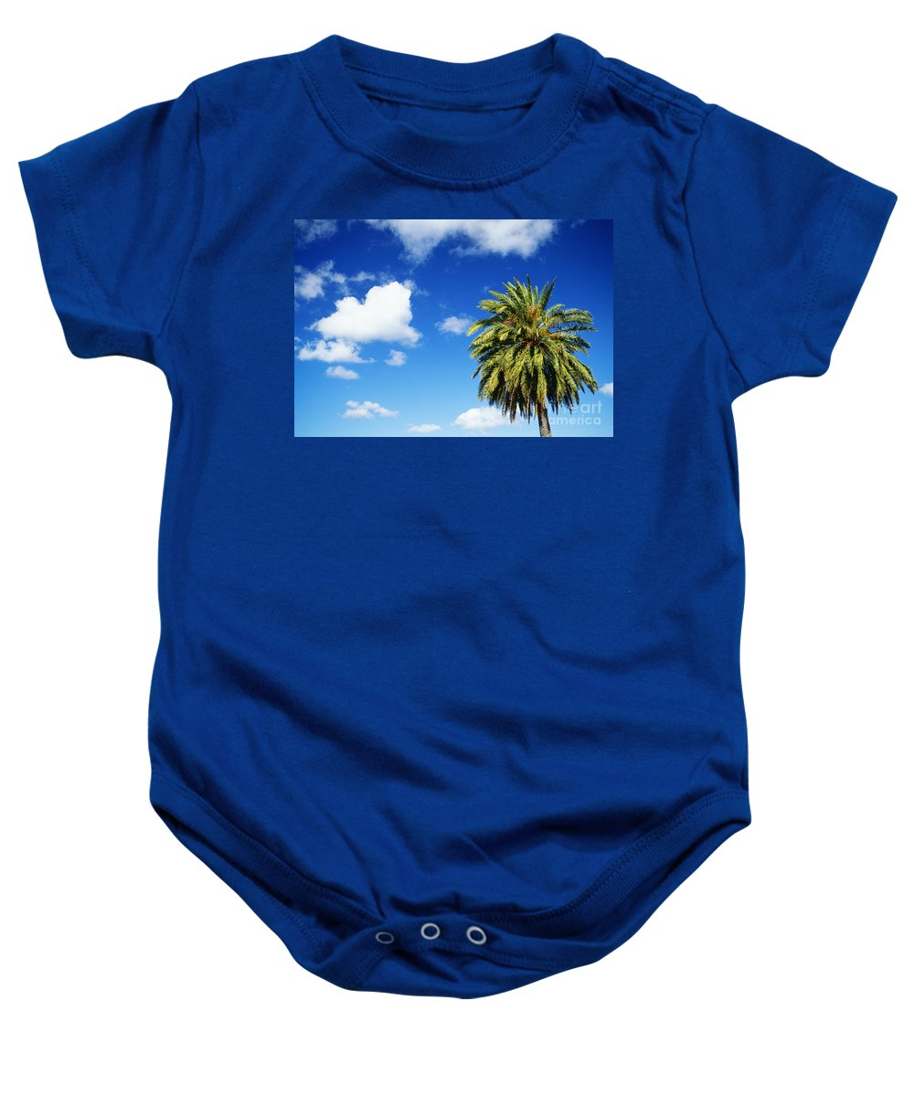 Blue Baby Onesie featuring the photograph Date Palm Treetop by Carl Shaneff - Printscapes