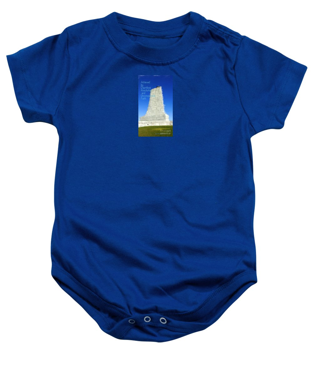 Wright Brothers Memorial Baby Onesie featuring the digital art Dauntless Resolution by Karen Francis