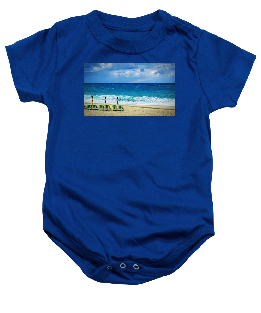 Deck Chairs Baby Onesie featuring the photograph Deck Chairs And Distant Rainbow by Silvia Ganora