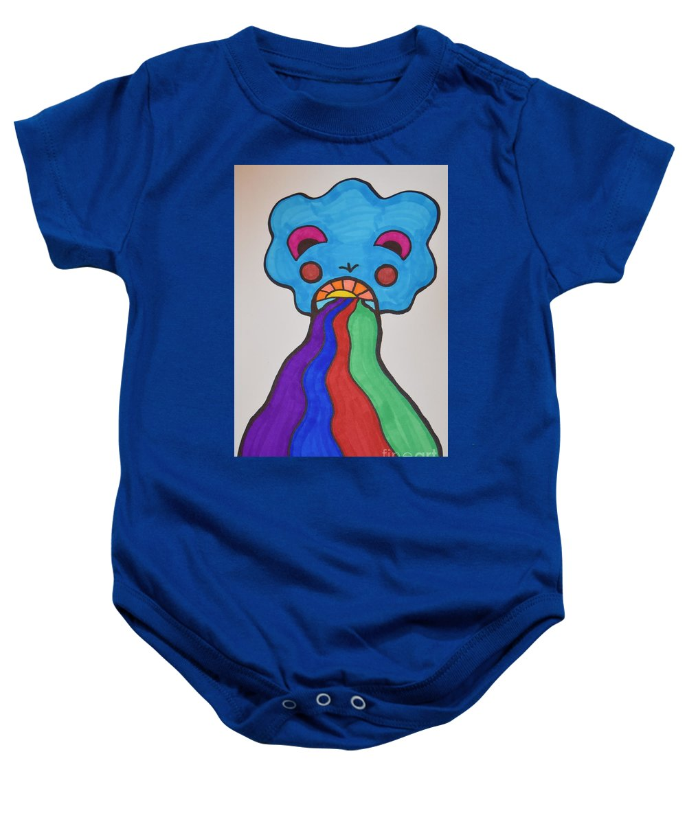 Rainbows Baby Onesie featuring the drawing Deep Expression by Lisa Kleiner