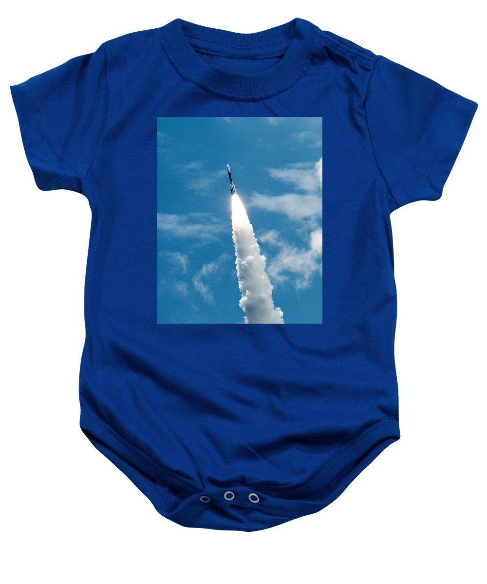 Cape; Canaveral; Nasa; Rocket; Florida; Delta; Launch; Launched; Launching; Space; Coast; Kennedy; S Baby Onesie featuring the photograph Delta Rocket From Cape Canaveral In Florida by Allan Hughes