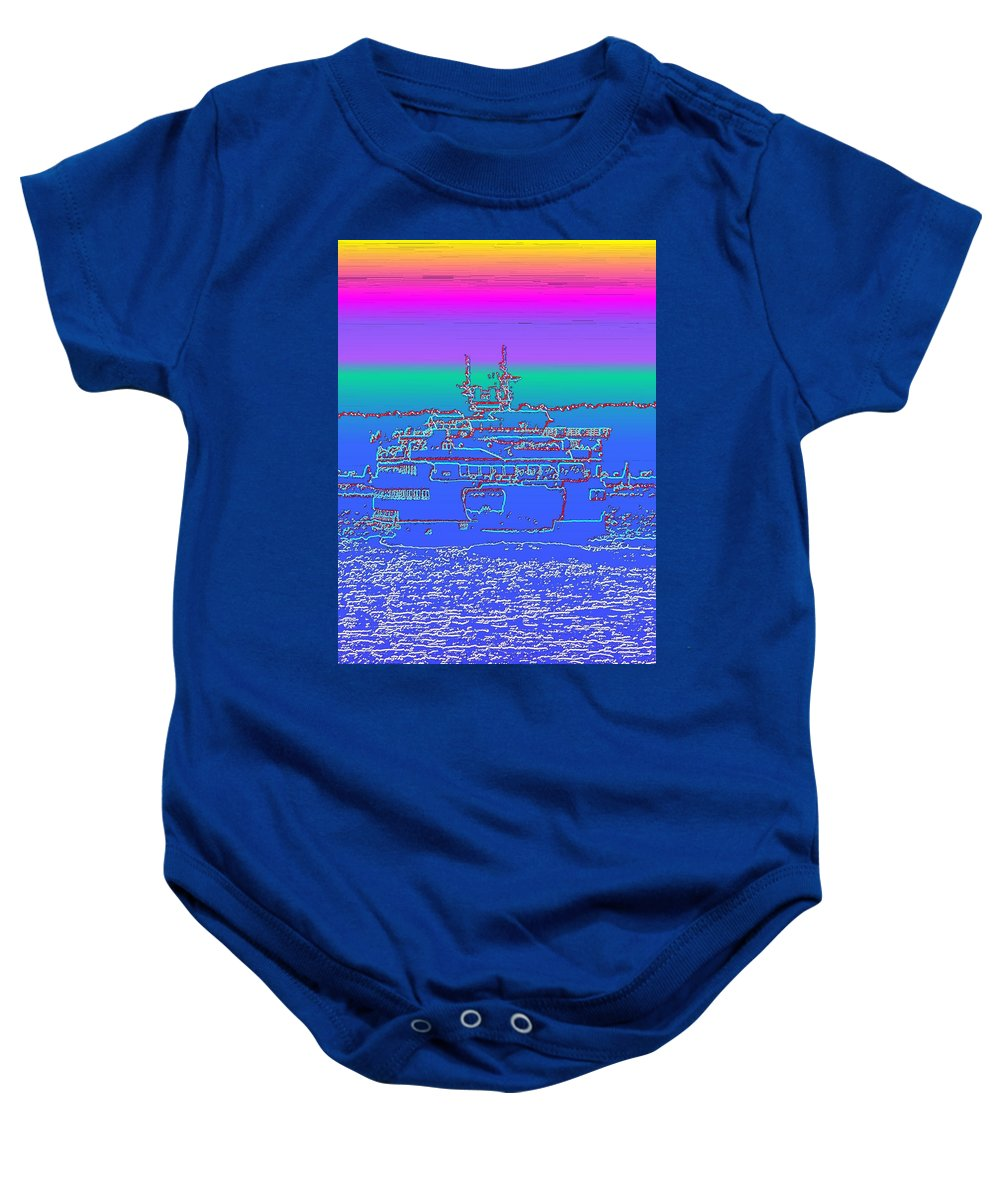 Digital Photo Manipulation Baby Onesie featuring the photograph Departing Ferry by Tim Allen