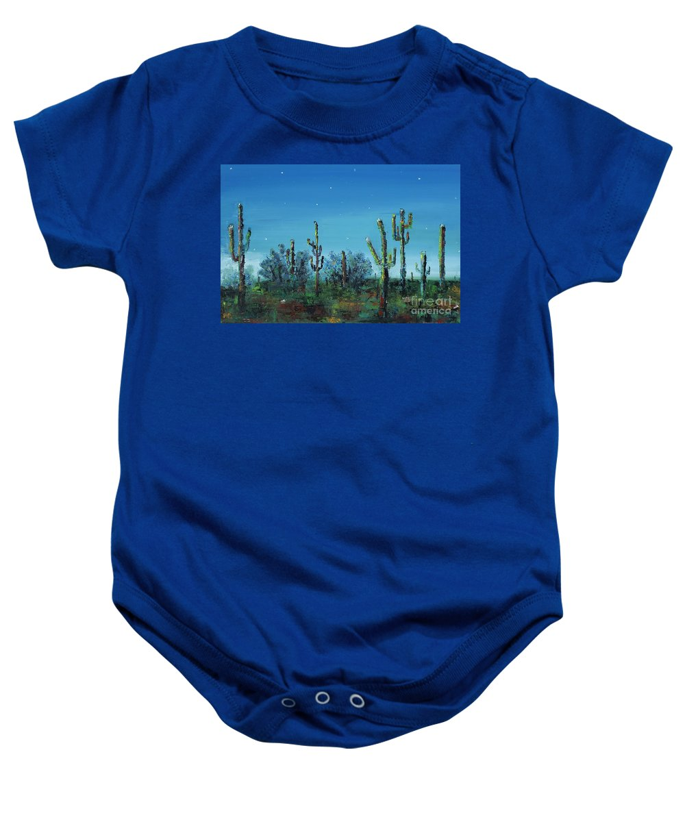 Desert Saguaro Catus In Bloom Baby Onesie featuring the painting Desert Blue by Frances Marino