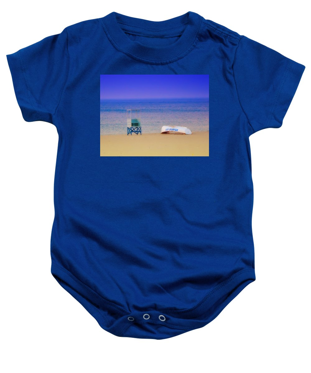 Atlantic City Baby Onesie featuring the photograph Deserted Beach by Bill Cannon