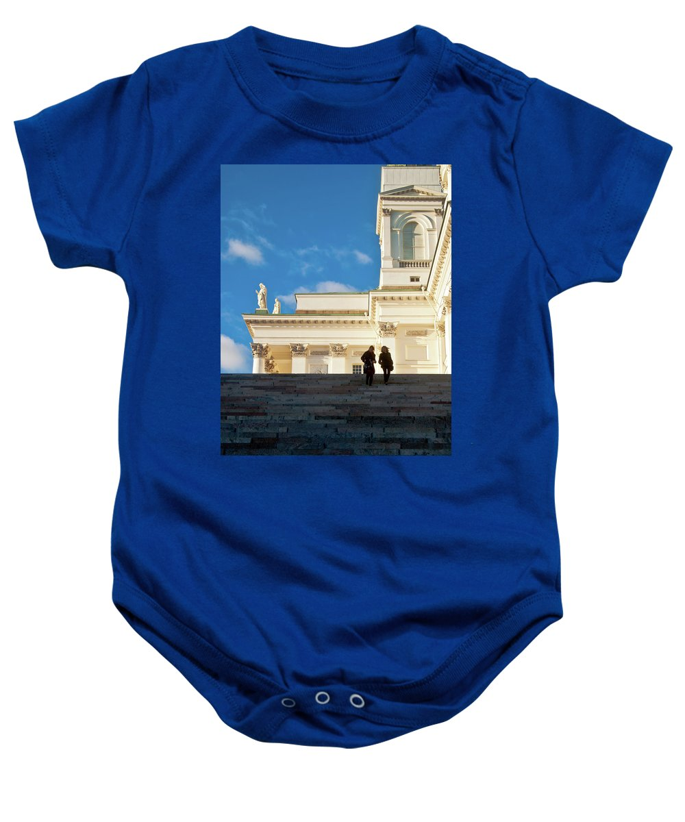 Helsinki Cathedral Baby Onesie featuring the photograph Detail Of Helsinki Cathedral by Jarmo Honkanen