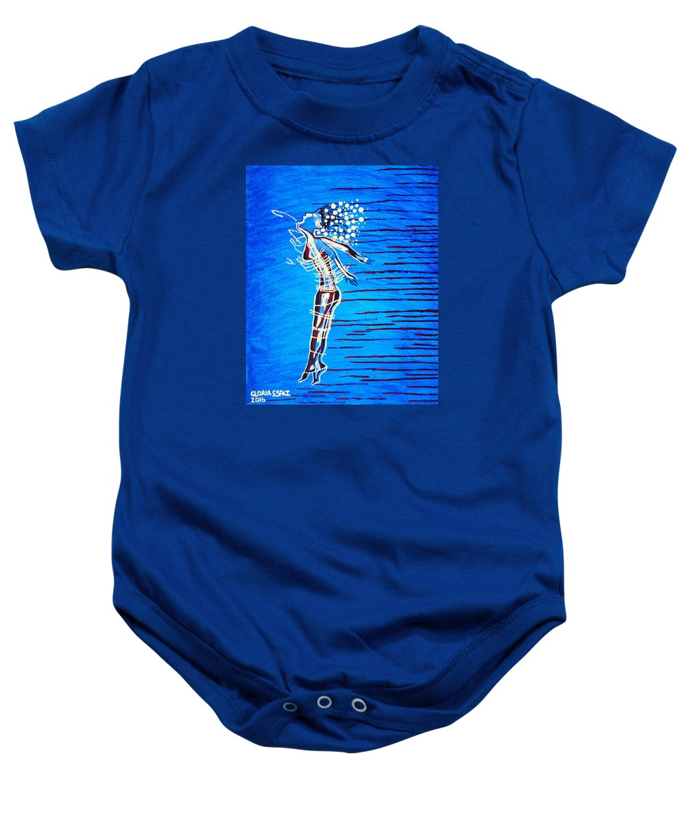 Jesus Baby Onesie featuring the painting Dinka Dame - South Sudan by Gloria Ssali