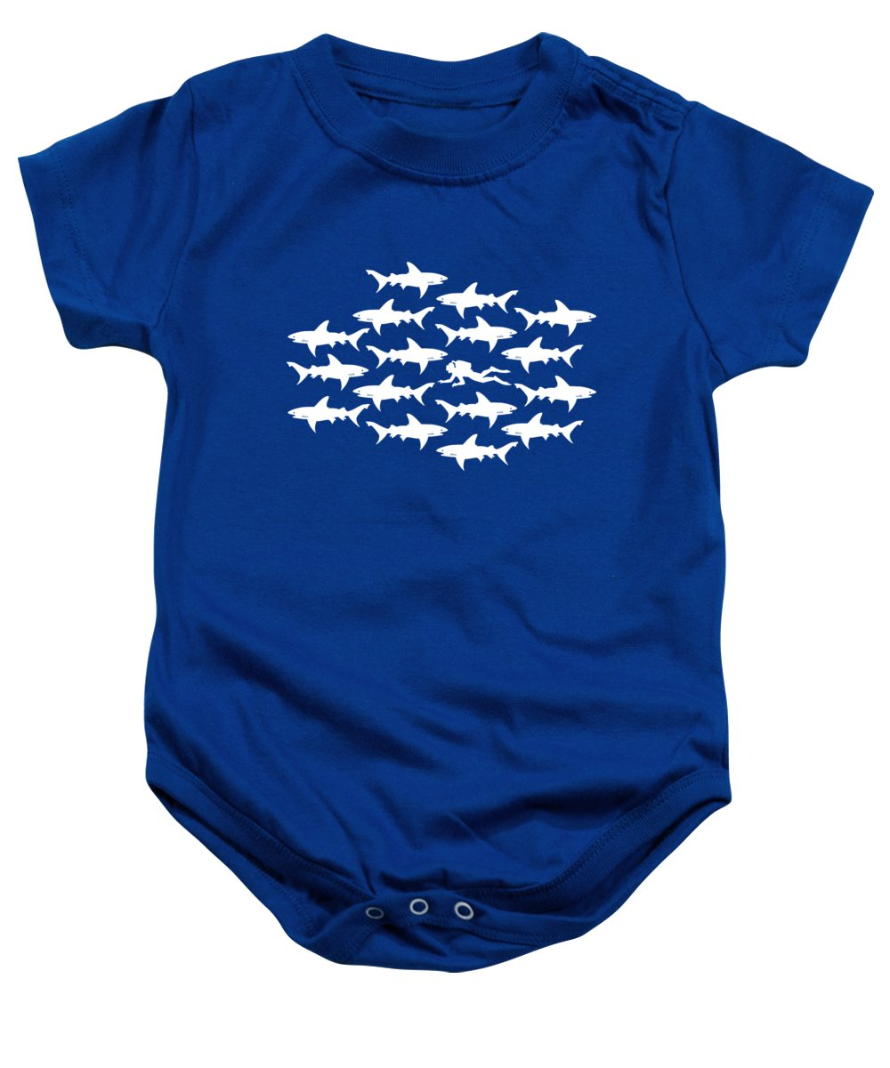 Diving Baby Onesie featuring the digital art Diver Swimming With Sharks by Antique Images