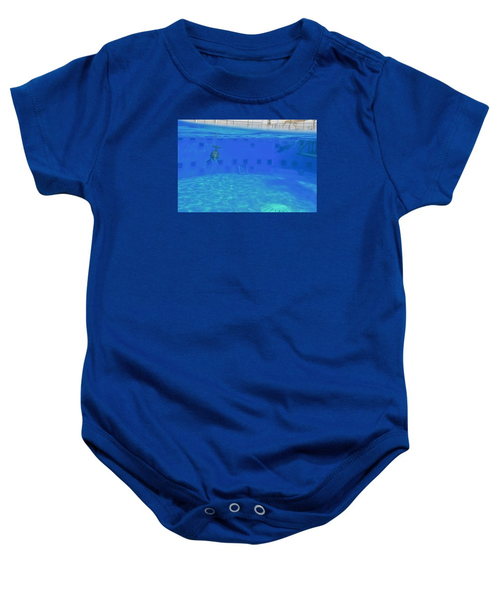 Okaloosa Island Aquarium Dolphin Show Baby Onesie featuring the photograph Dolphins by Douglas Wade
