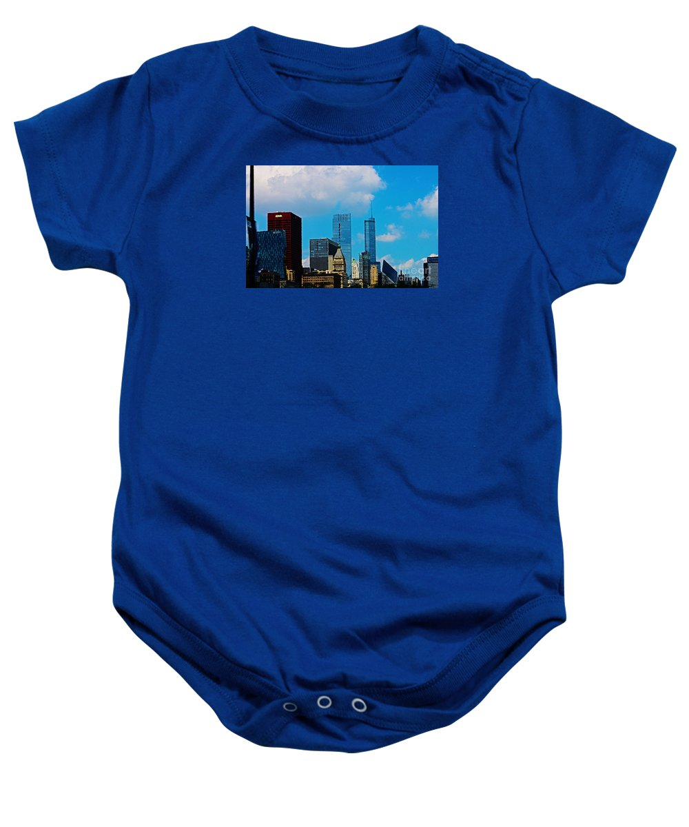 Chicago Baby Onesie featuring the digital art Downtown Chicago by Don Baker
