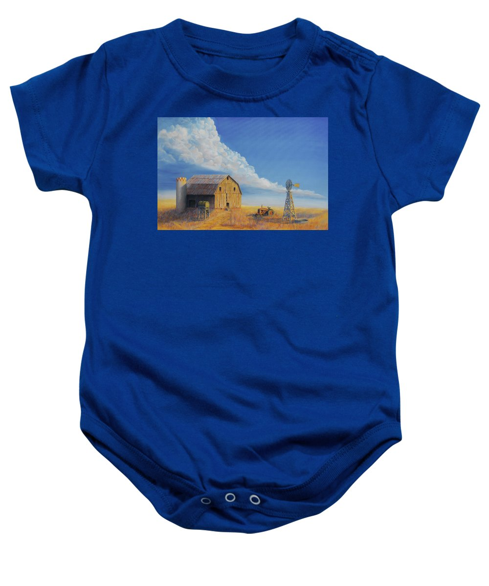 Barn Baby Onesie featuring the painting Downtown Wyoming by Jerry McElroy