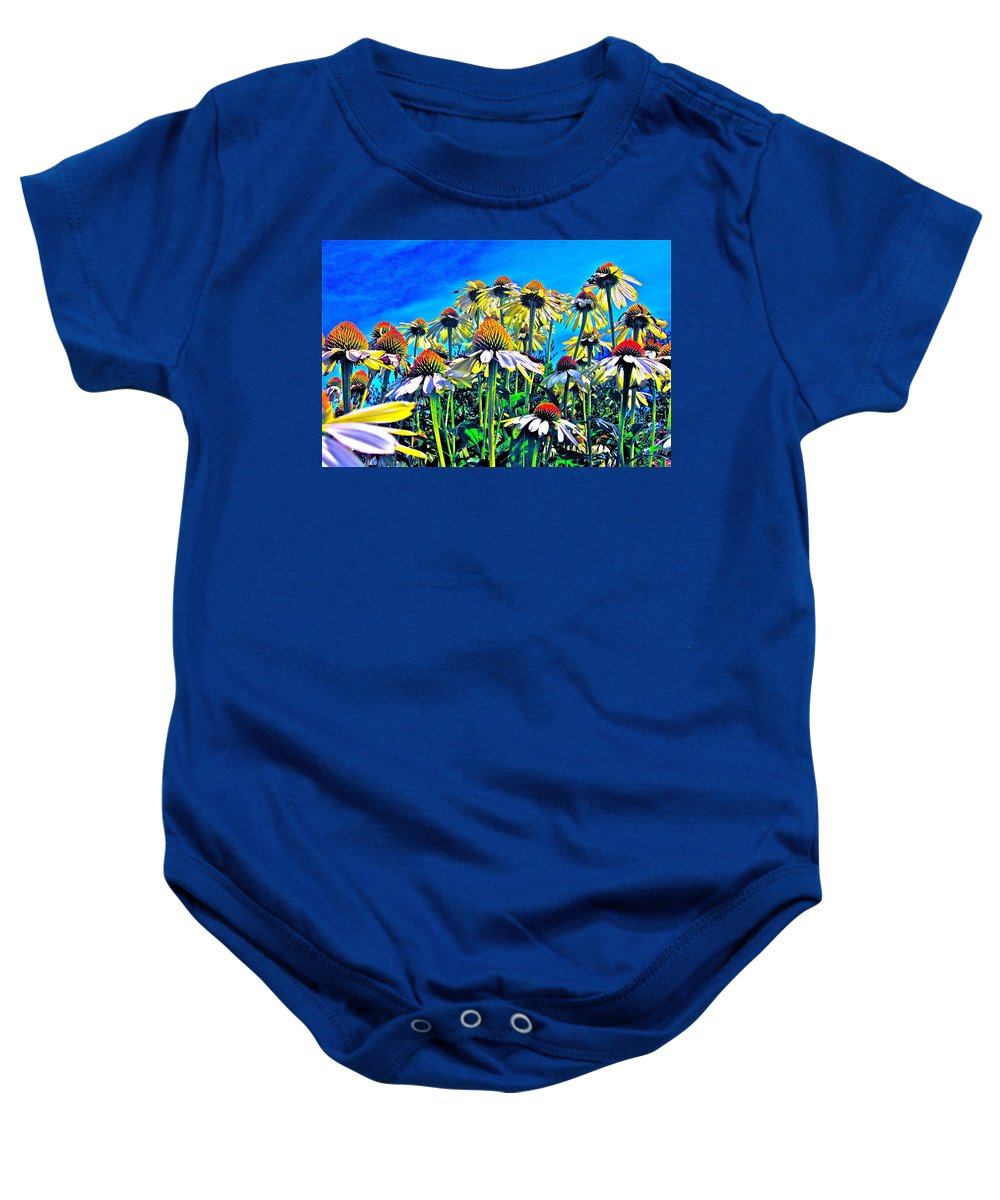 Photograph Of Field Of Flowers Baby Onesie featuring the photograph Dream Field by Gwyn Newcombe