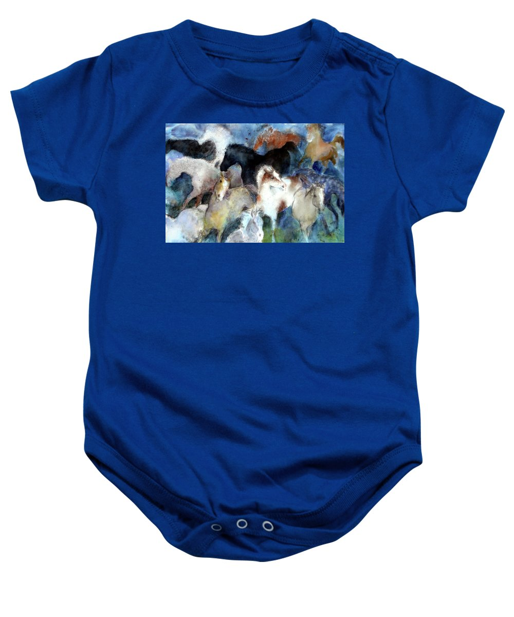 Horses Baby Onesie featuring the painting Dream Of Wild Horses by Christie Martin