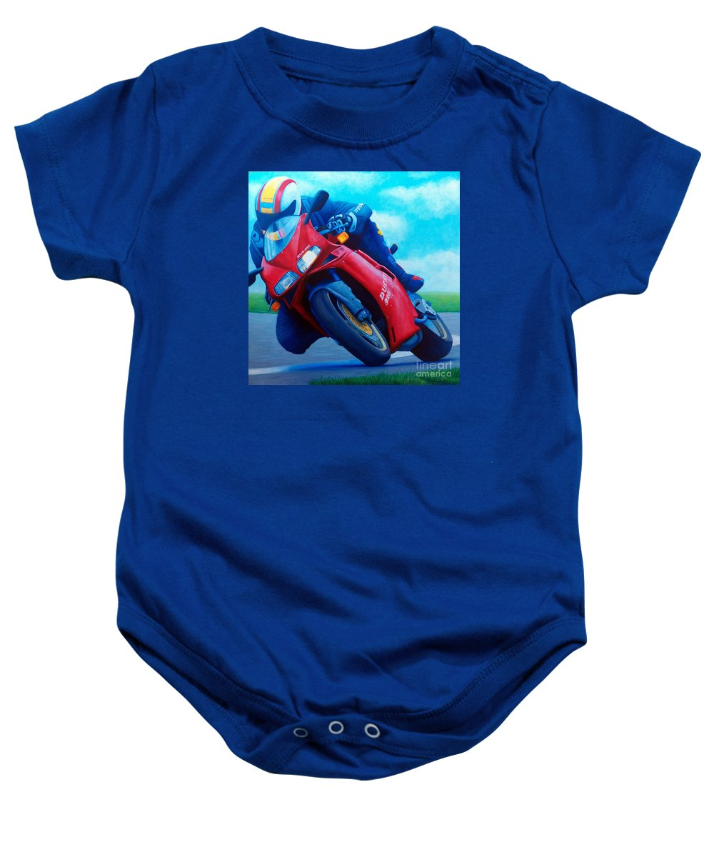 Motorcycle Baby Onesie featuring the painting Ducati 916 by Brian Commerford