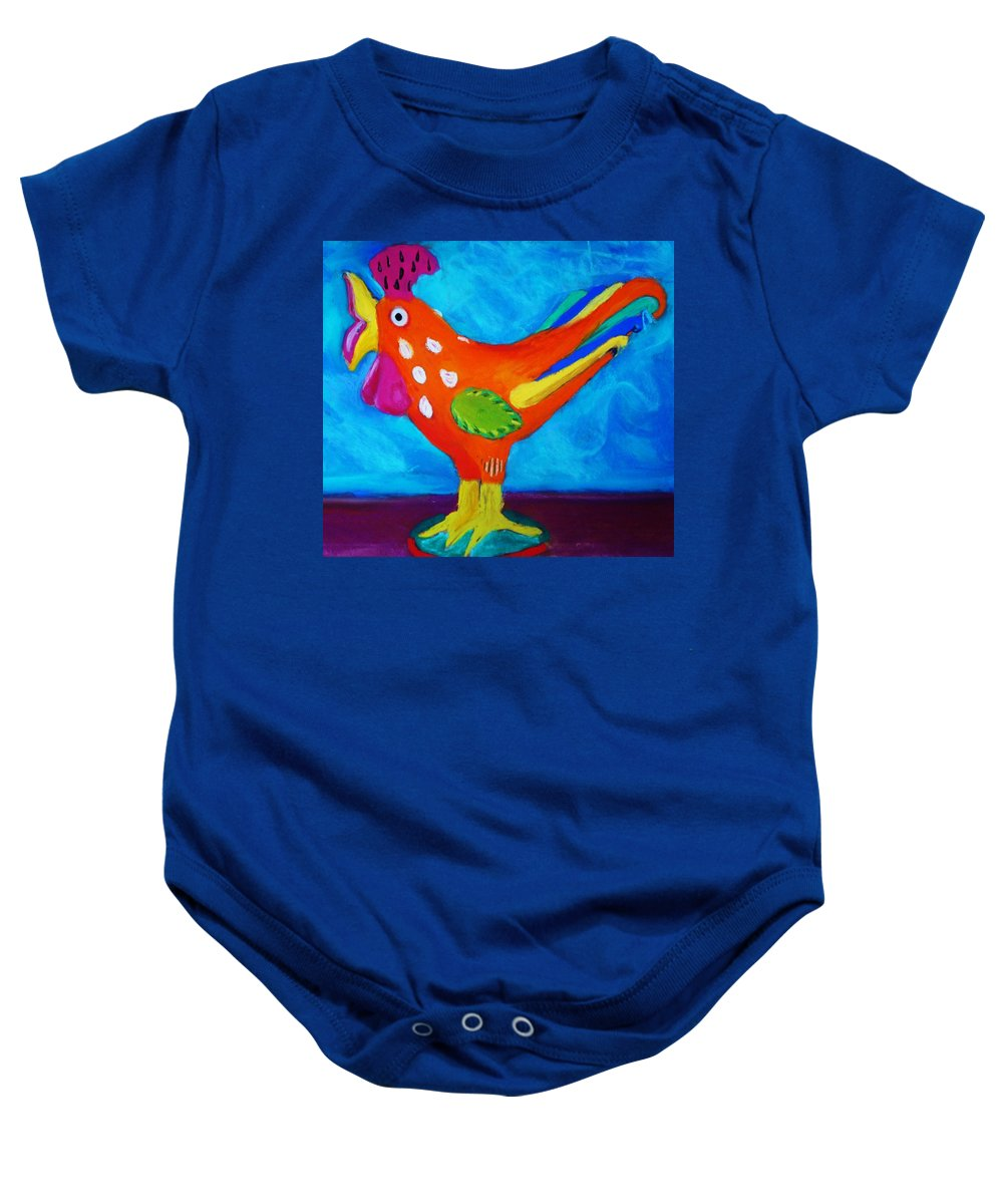 Bird Baby Onesie featuring the pastel Dusty's Chick by Melinda Etzold