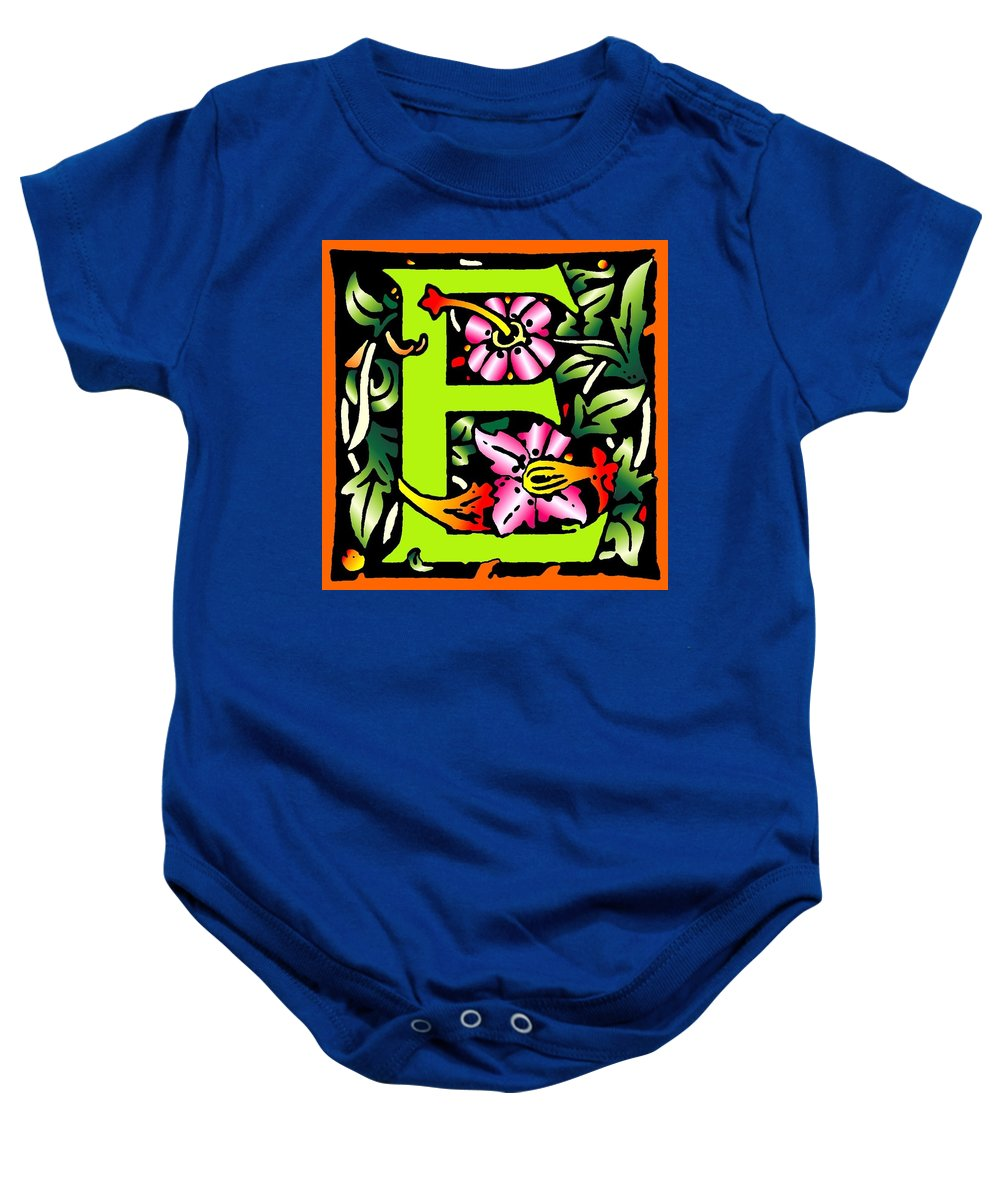 Alphabet Baby Onesie featuring the digital art E In Green by Kathleen Sepulveda