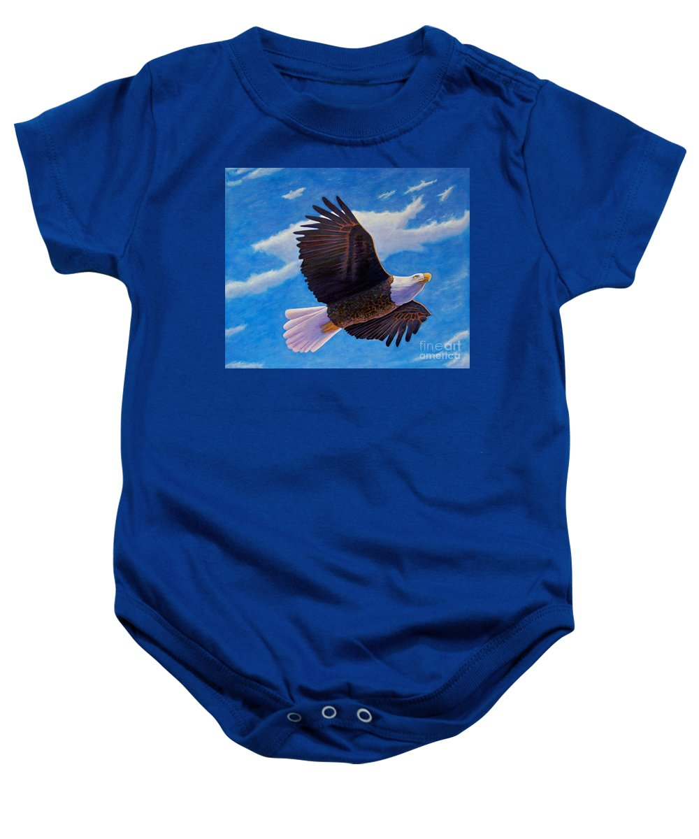 Eagle Baby Onesie featuring the painting Eagle Heart II by Brian Commerford
