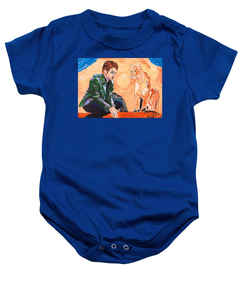 Edward Baby Onesie featuring the painting Edward Cullen And His Diet by Valerie Ornstein