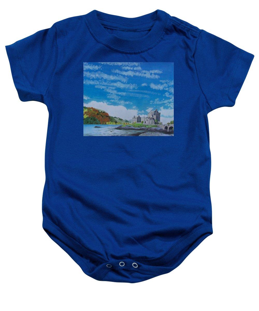 Landscape Baby Onesie featuring the mixed media Eilean Donan by Constance Drescher