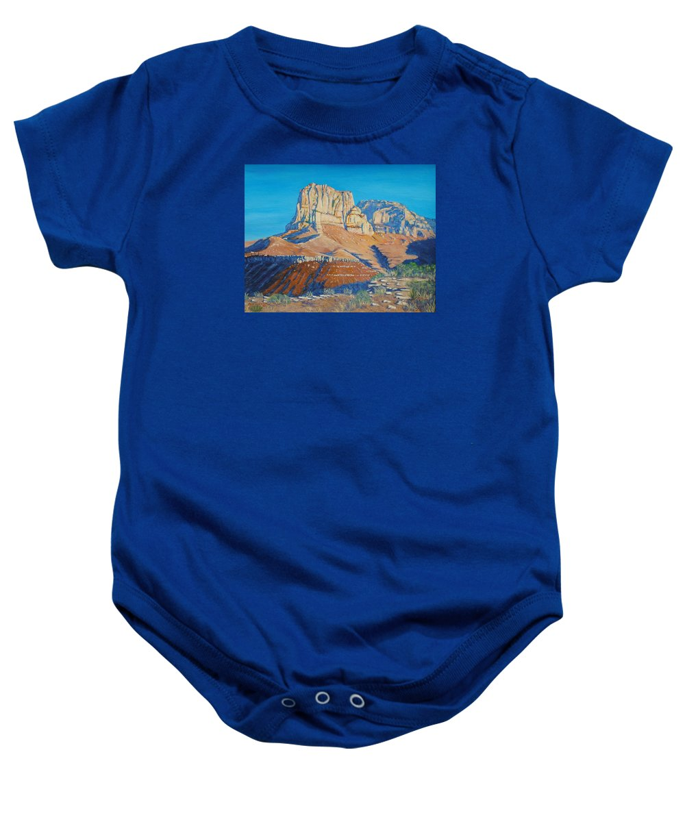 Guadalupe Mountains National Park Baby Onesie featuring the painting El Capitan At The Guadalupe Peaks by Paul Larson