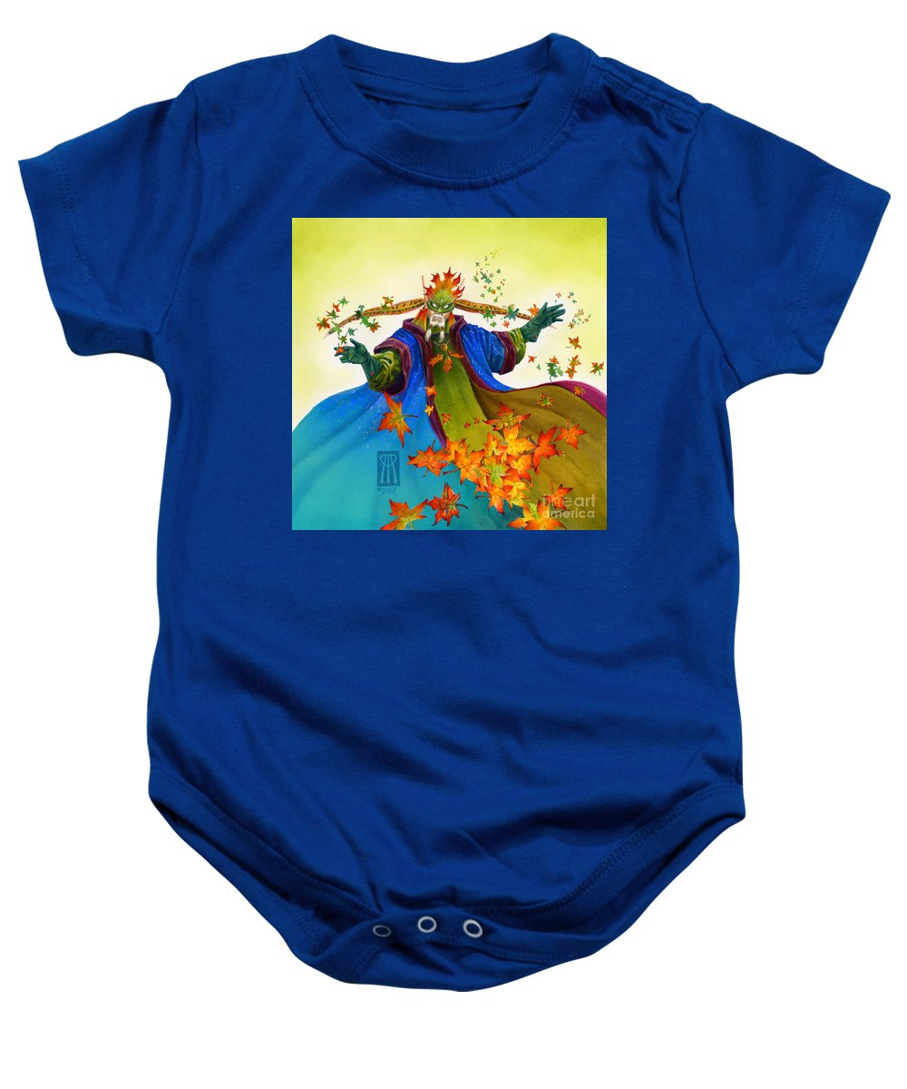 Elf Baby Onesie featuring the painting Elven Mage by Melissa A Benson