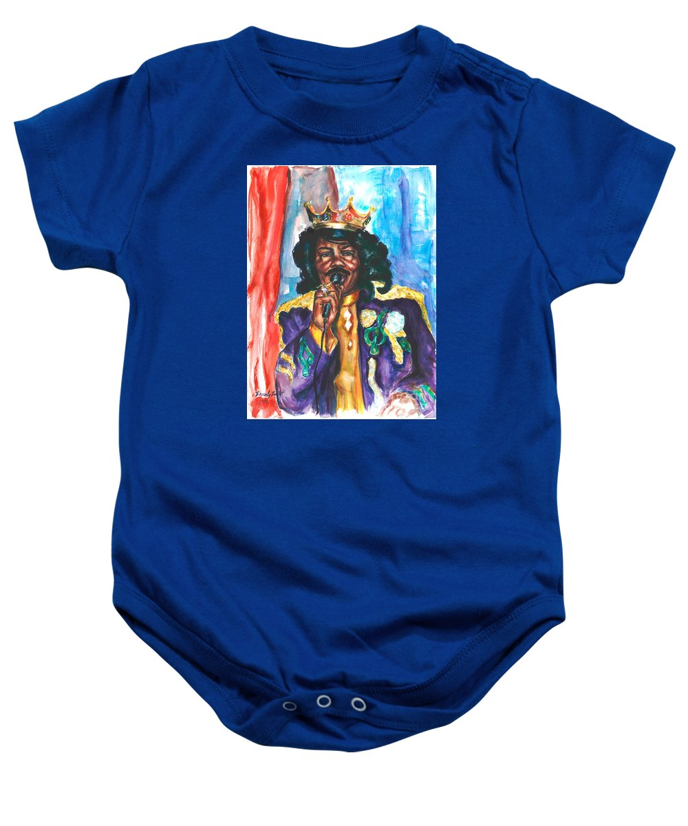 Ernie K Doe Baby Onesie featuring the painting Emperor Of The Universe by Beverly Boulet