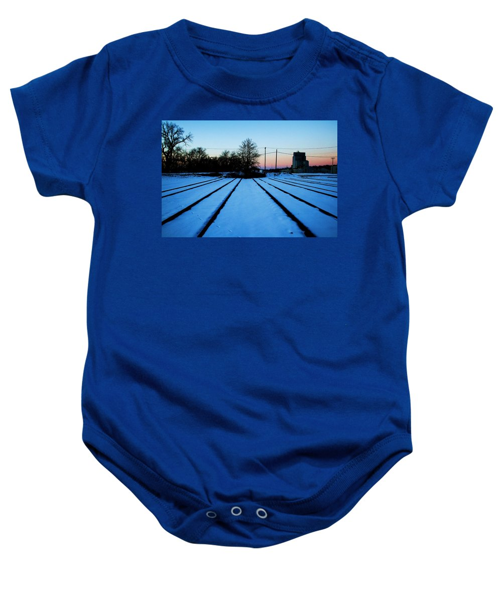 Sunset Baby Onesie featuring the photograph End Of The Tracks by Angus Hooper Iii