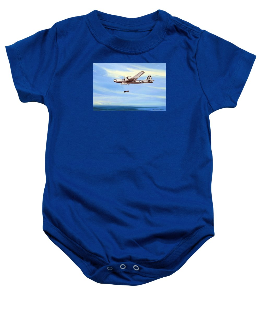 Military Baby Onesie featuring the painting Enola Gay by Marc Stewart