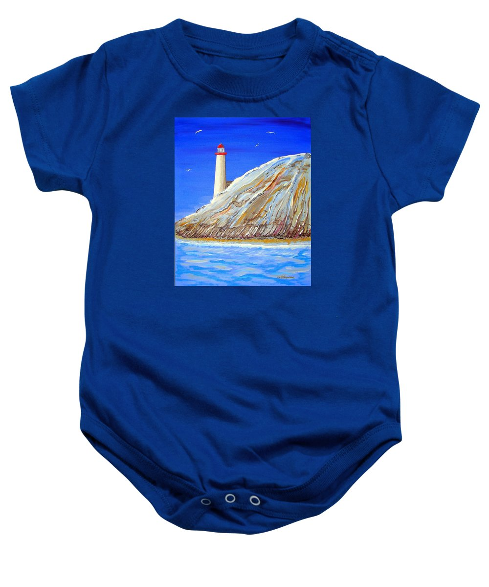 Lighthouse Baby Onesie featuring the painting Entering The Harbor by J R Seymour