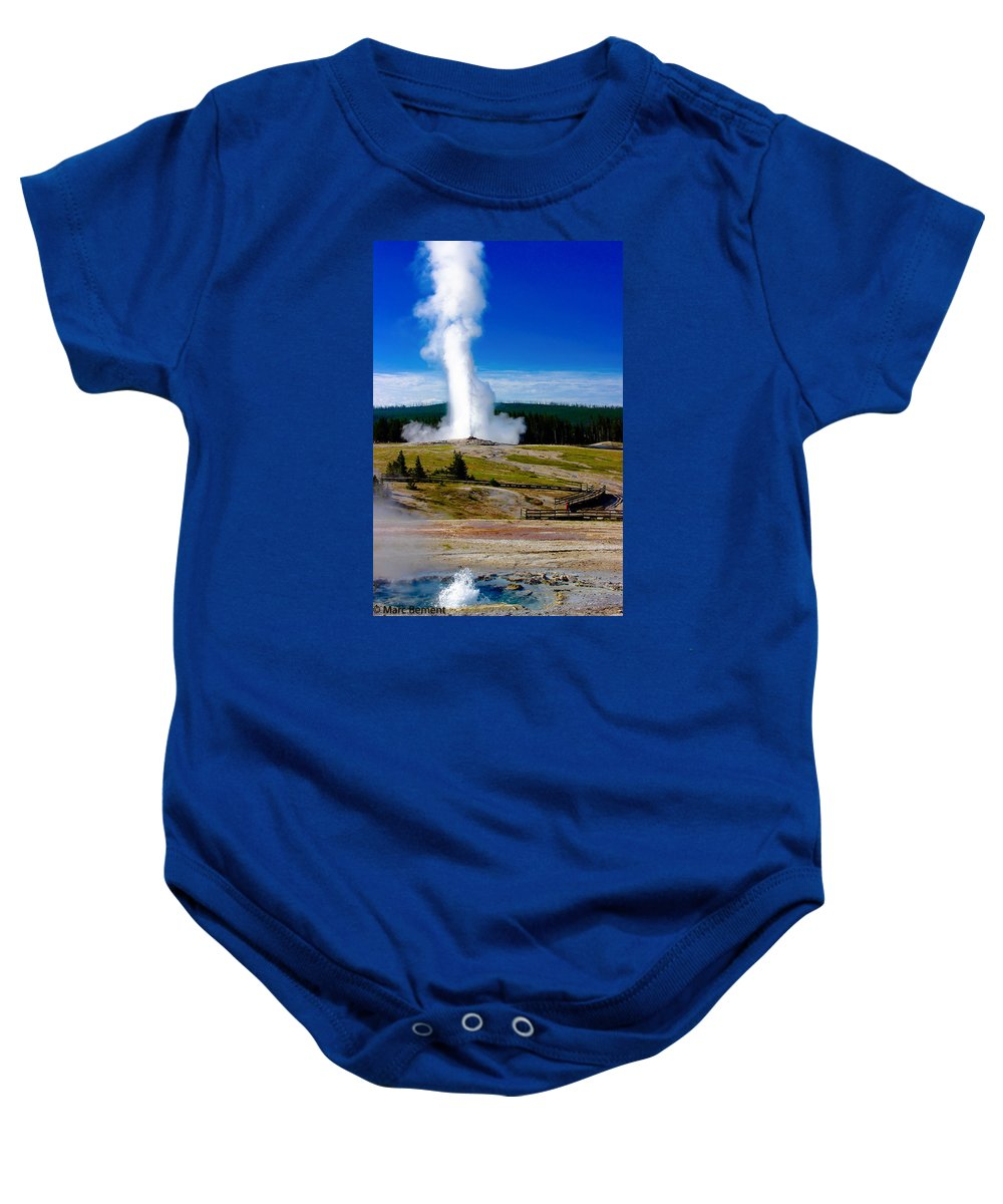 Old Faithful Baby Onesie featuring the photograph Eruption by Marc Bement