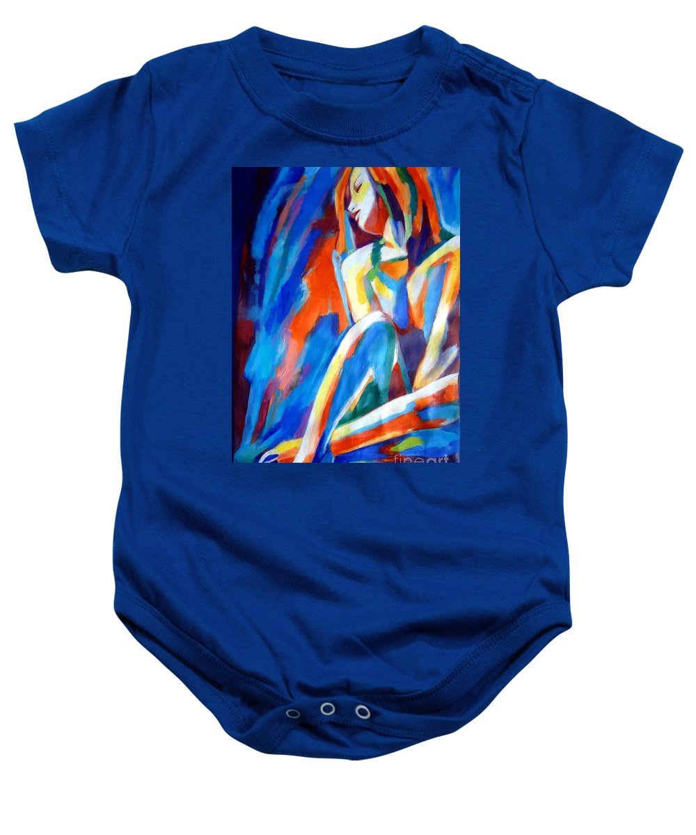 Contemporary Art Baby Onesie featuring the painting Evening Mood by Helena Wierzbicki