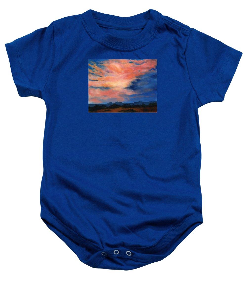 Twilight Baby Onesie featuring the painting Evening Sky by Melissa Joyfully