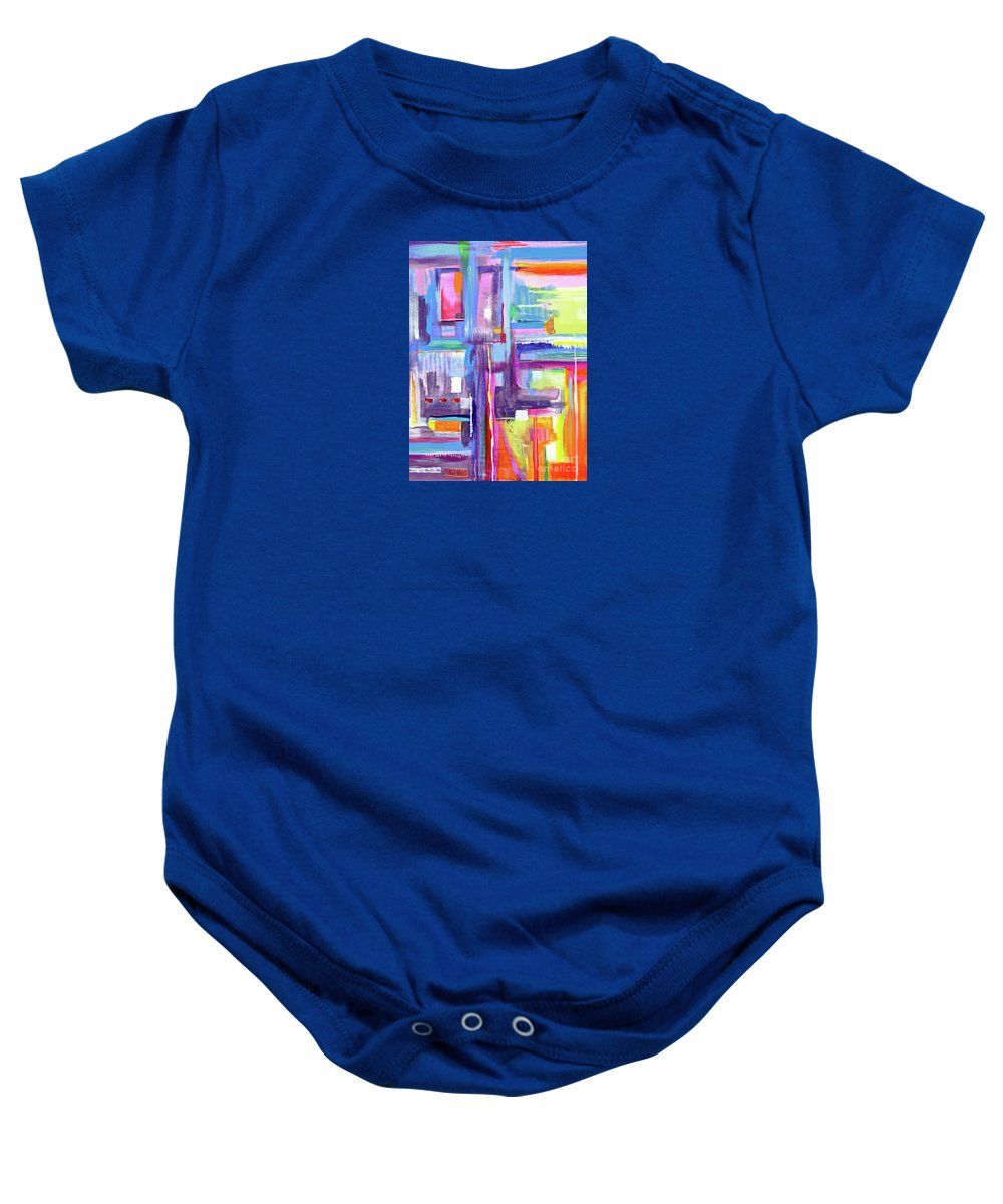 A Scape. New Series Begins Here.and The Title Eyedropper Baby Onesie featuring the painting Eye Dropper by Priscilla Batzell Expressionist Art Studio Gallery