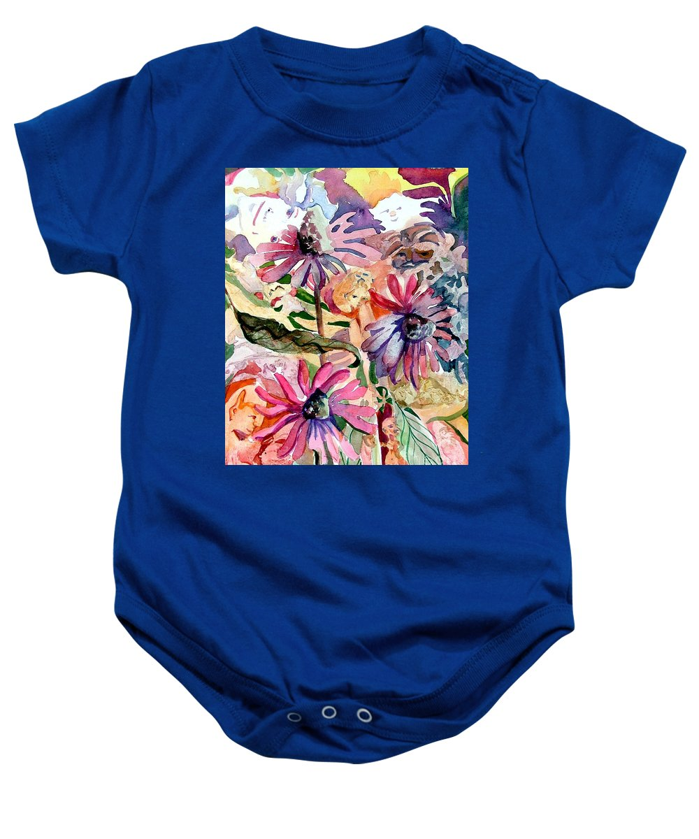 Daisy Baby Onesie featuring the painting Fairy Land by Mindy Newman