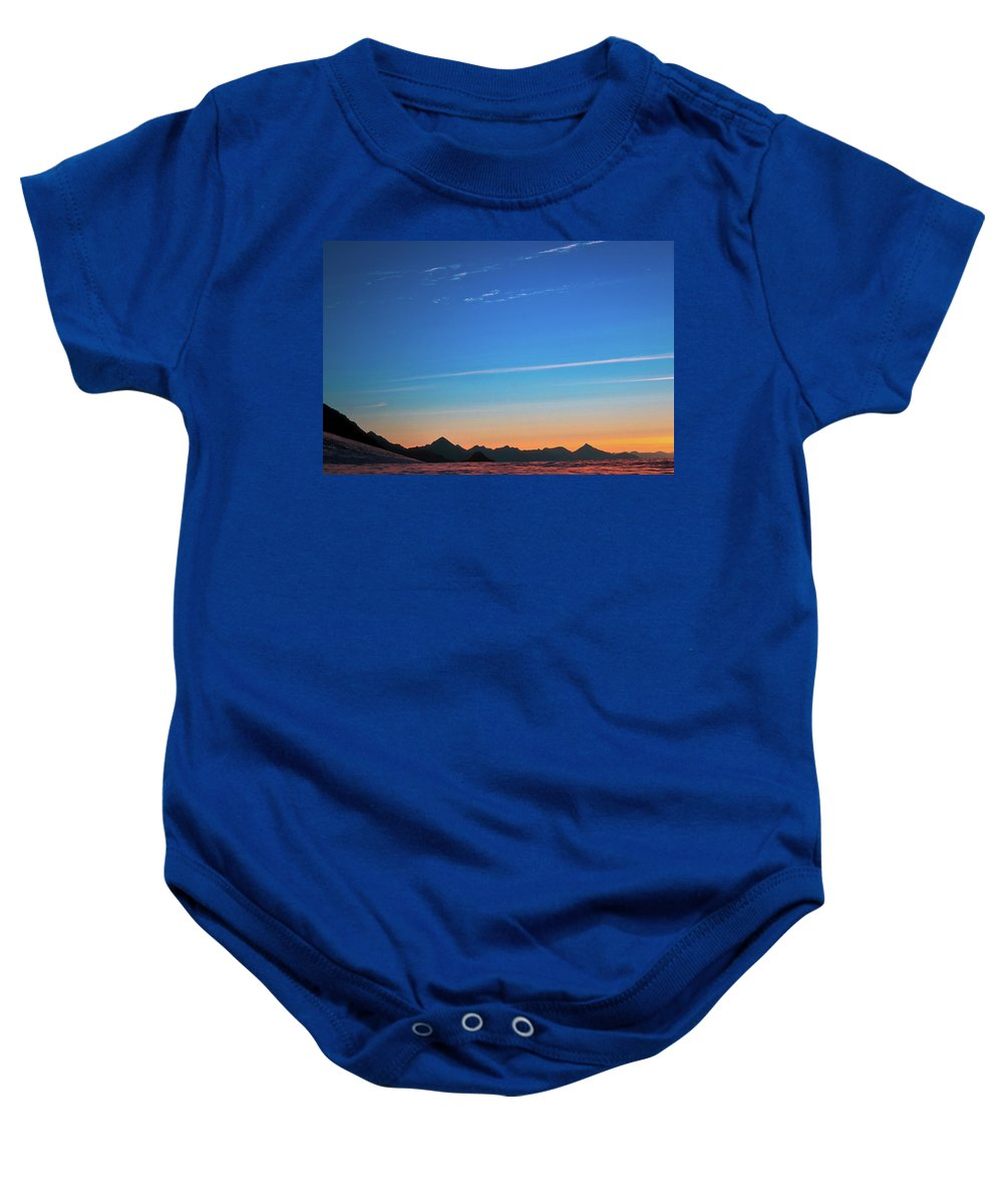 Alone Baby Onesie featuring the photograph Far Mountains by Konstantin Dikovsky