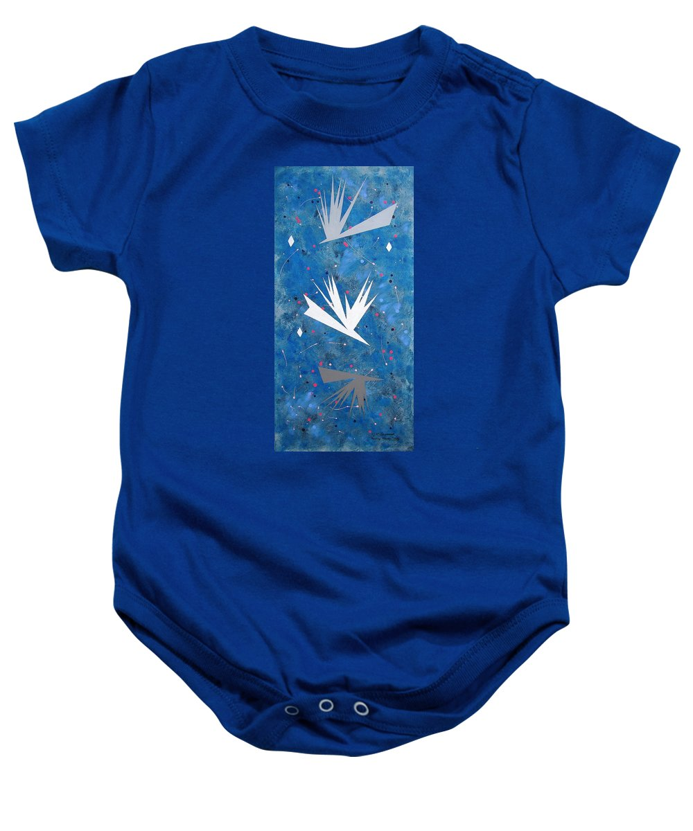 Birds And Diamond Stars Baby Onesie featuring the painting Feeding Frenzy by J R Seymour