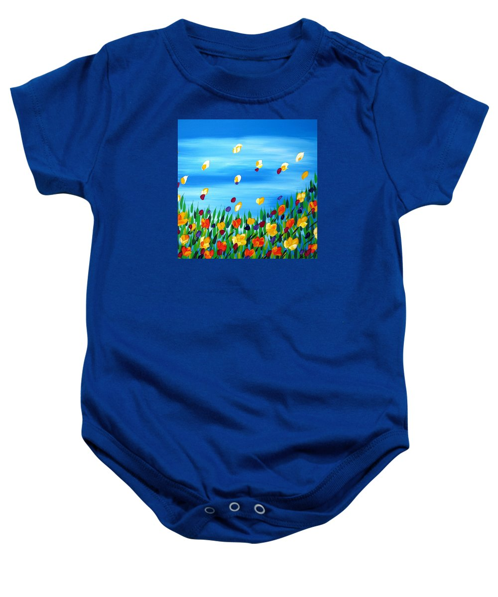 Field Baby Onesie featuring the painting Field by Cathy Jacobs