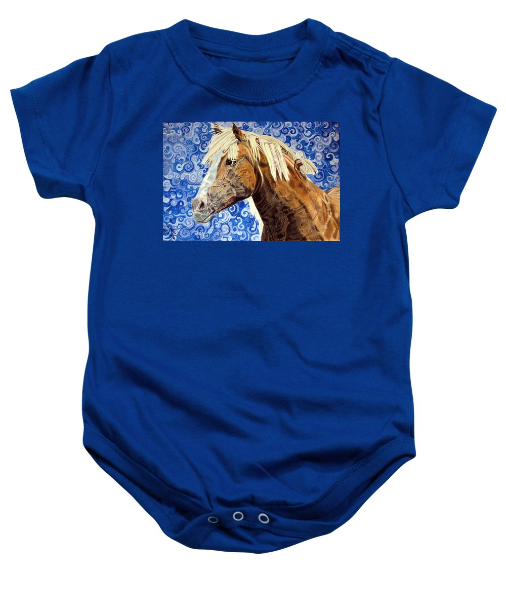 Horse Baby Onesie featuring the drawing Fiosa by Melita Safran