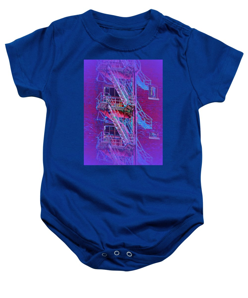 Fire Escape Baby Onesie featuring the photograph Fire Escape 4 by Tim Allen