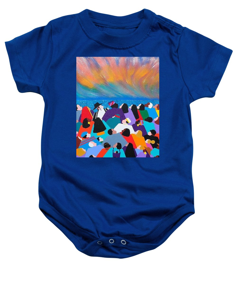 Obama Baby Onesie featuring the painting Fire Rainbow Obama by Synthia SAINT JAMES