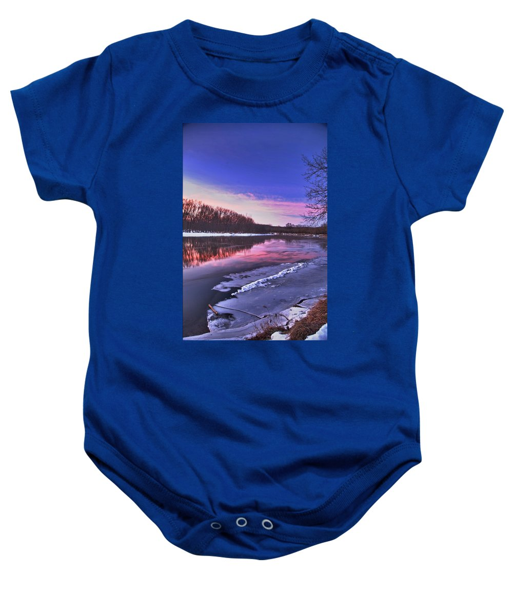 River Baby Onesie featuring the photograph First Light by Robert Pearson