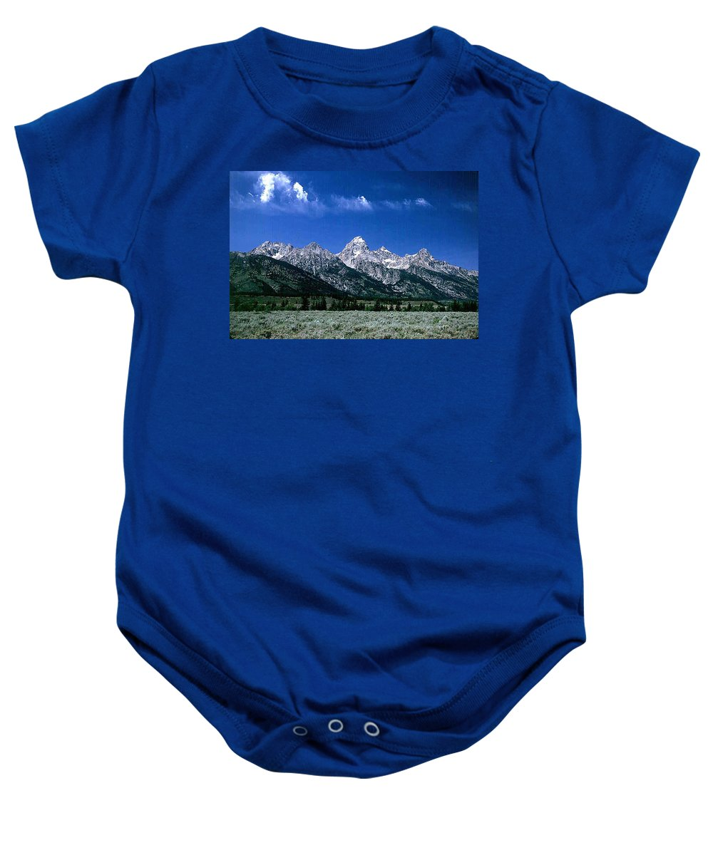 Mountains Baby Onesie featuring the photograph First View Of Tetons by Kathy McClure