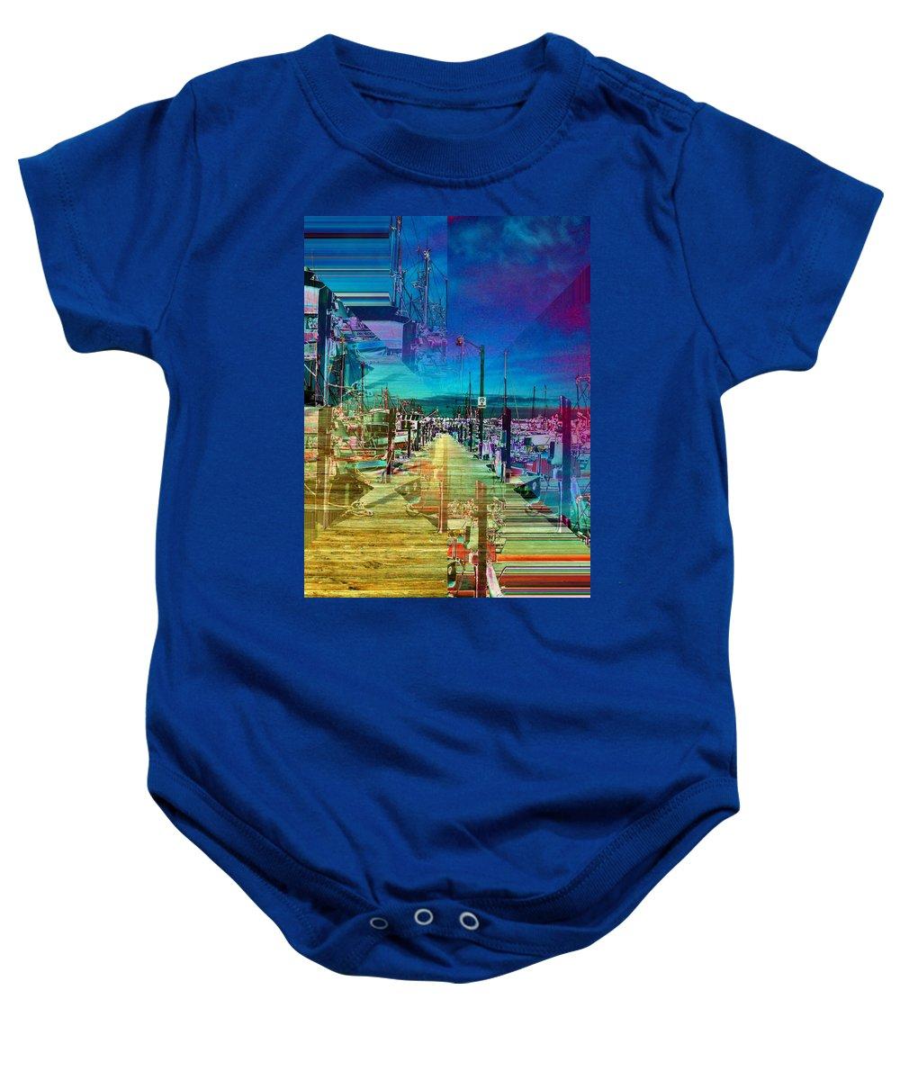 Seattle Baby Onesie featuring the digital art Fishermans Terminal Pier 2 by Tim Allen