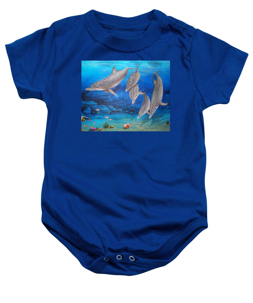 Dolphin Baby Onesie featuring the painting Five Friends by Cindy D Chinn