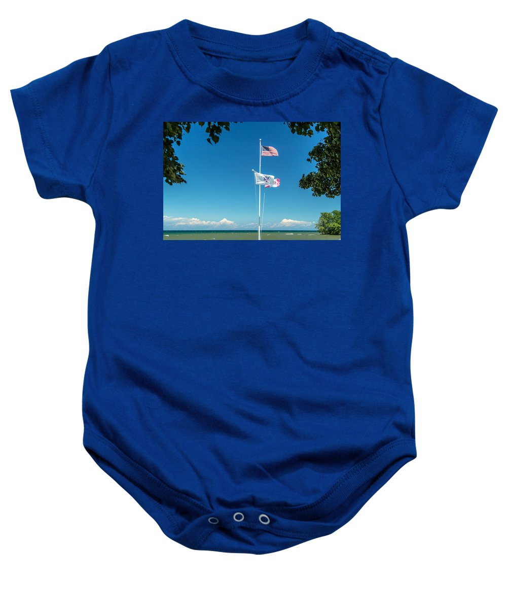 Flags Baby Onesie featuring the photograph Flags On The Shoreline by Lou Cardinale