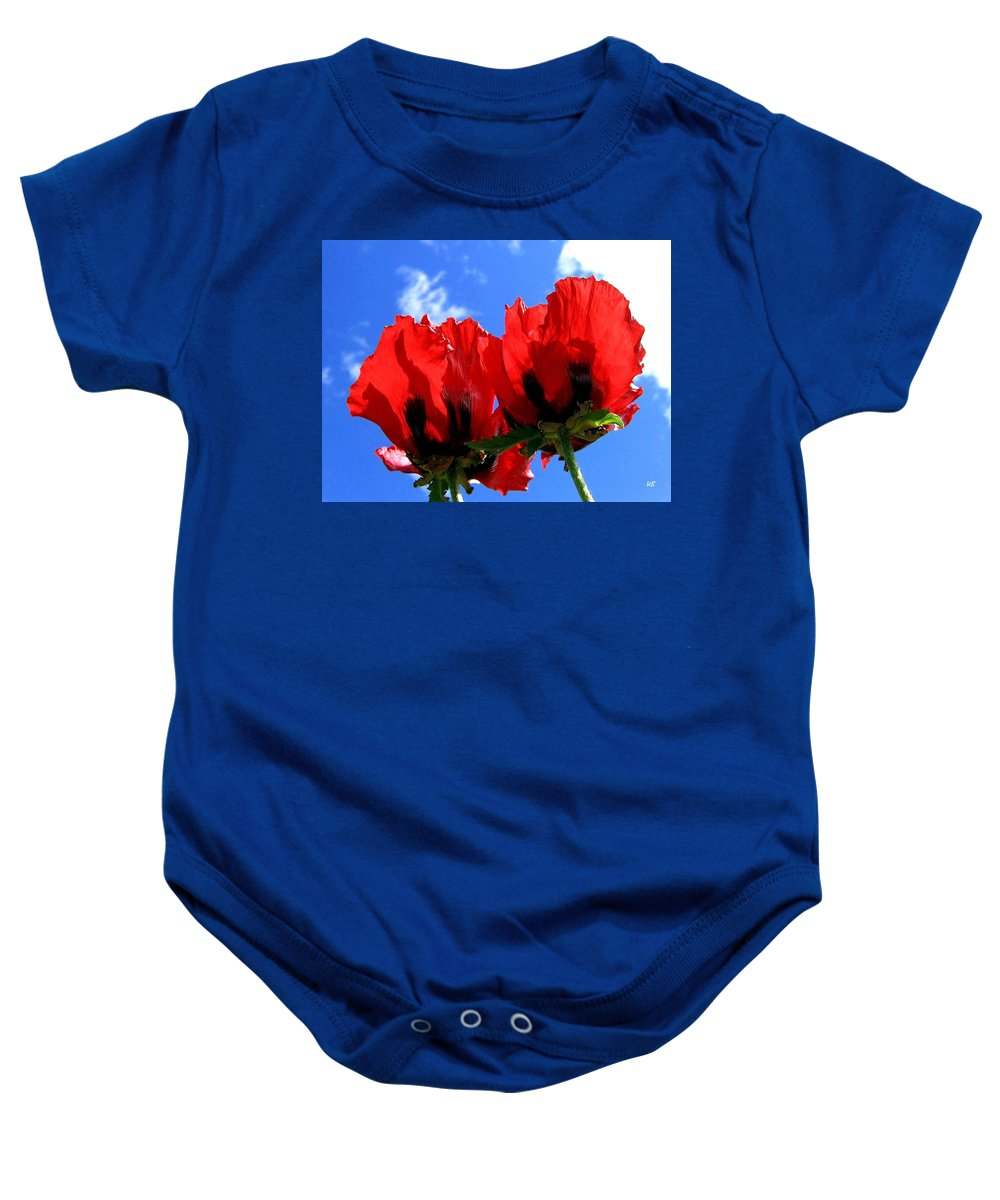 Blue Baby Onesie featuring the photograph Flaming Skies by Will Borden