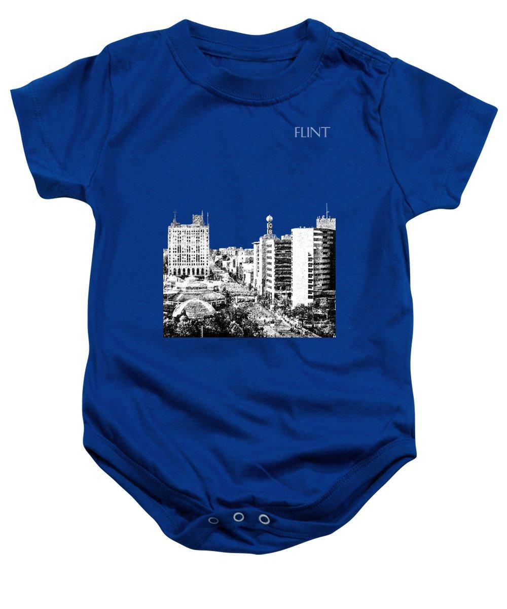 Architecture Baby Onesie featuring the digital art Flint Michigan Skyline - Aqua by DB Artist