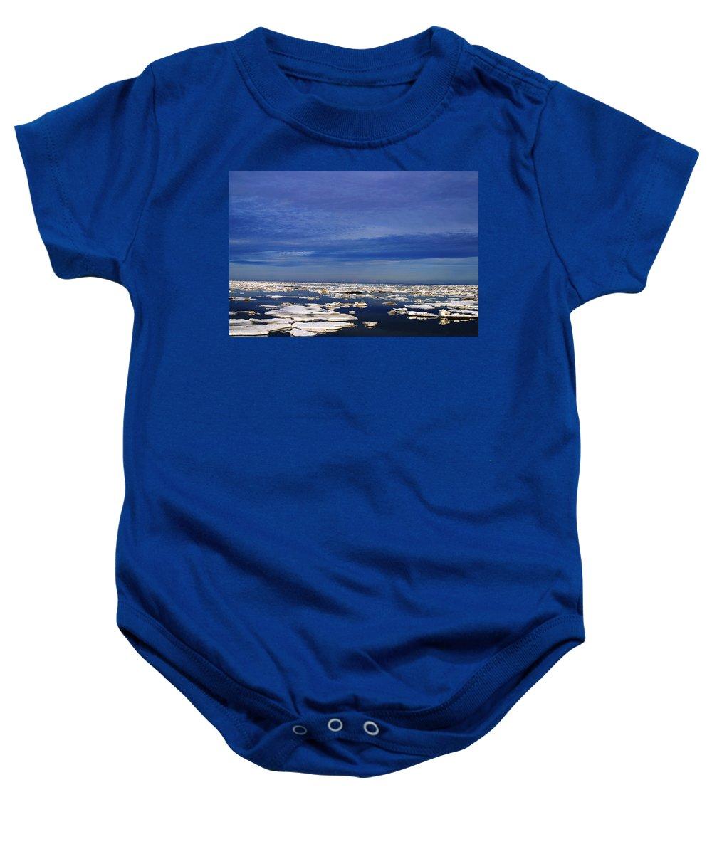 Alaska Baby Onesie featuring the digital art Floating Ice by Anthony Jones